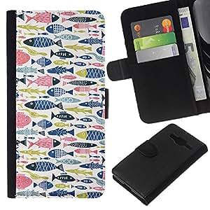 Stuss Case / Funda Carcasa PU de Cuero - Fish Rosa Azul Verde Patr¨®n de Pesca - Samsung Galaxy Core Prime