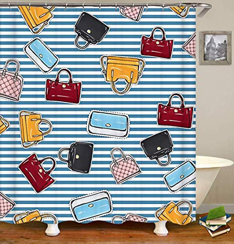 Different Women Handbags Blue and White Stripe Shower Curtain,Waterproof Polyester Fabric Bathroom Home Decor Set with Hooks,Extra Long Bath Curtain Bathroom Decoration, 54