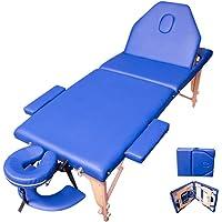 Bioconfort Cama Masaje Spa Reclinable Ligera Plegable Estuche Portatil Profesional Mesa de Tatuajes Terapia Cabecera Portabrazos Fisioterapia Tattoo (Azul)