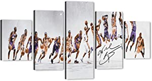 "Kobe Bryant Dunk Silhouette - 5 Piece Large Canvas Wall Art Los Angeles Lakers Forever Legend 24th NBA Super Star Picture Artwork for Home Decor, Kobe Canvas Print for Boys Room Decor (60""Wx32""H)"