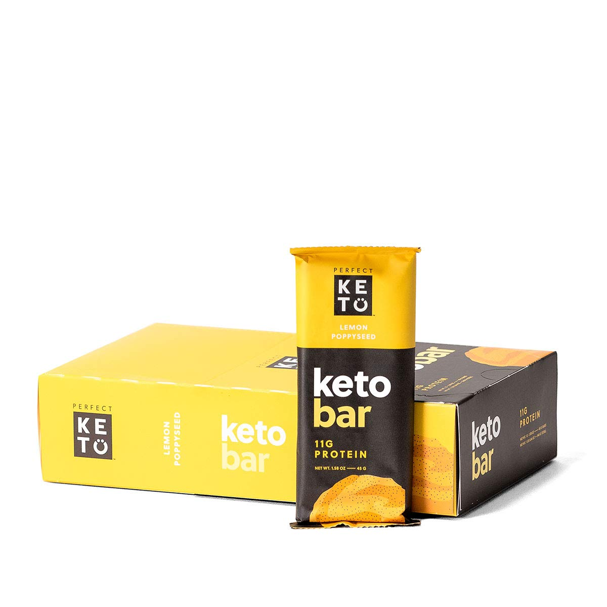 Perfect Keto Bar, Keto Snack (12 Count), No Added Sugar. 10g of Protein, Coconut Oil, and Collagen, with a Touch of Sea Salt and Stevia. (3 Boxes, Lemon Poppyseed) by Perfect Keto