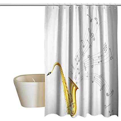 Anshesix Jazz Music Decor Collection Home Shower Curtain By Illustration Of Wavy Tune From
