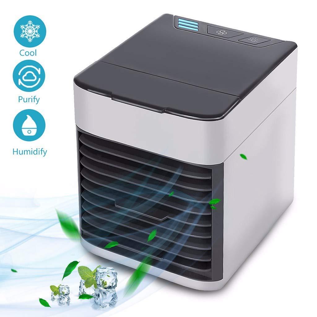 Personal Space Air Cooler,USB Luftk/ühler 3 in 1 Tragbare Arctic Mini Air Klimaanlage Luftbefeuchter und Luftreiniger mit 3 Geschwindigkeiten7 Farben LED-Nachtlicht