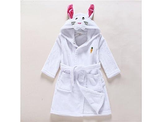 Blueqier Toalla de casa Albornoz de Conejo de Dibujos Animados de los niños Albornoz Pijamas de bebé Lindo Animal Albornoz Capa (Blanco) Suministros de ...