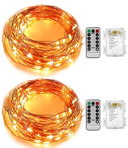Starry String Lights 2 Pack Kingtop 16.4Ft 50 LEDs Flexible Copper Wire Battery Powered Fairy String Lights with 8 Modes Remote Control for Holiday Party Wedding Centerpiece Bottle Decoration