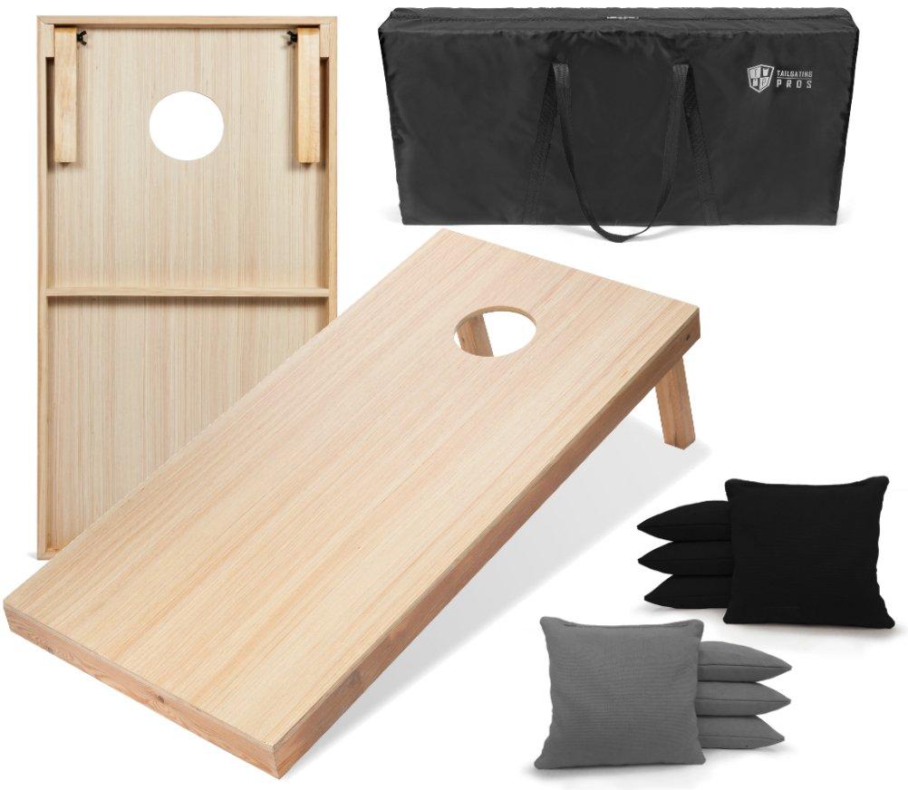 Tailgating Pros 4'x2' WoodGrain Finish Cornhole Boards w/Carrying Case & set of 8 Cornhole Bags (YOU PICK COLOR) 25 Bag Colors! (Black/Grey)