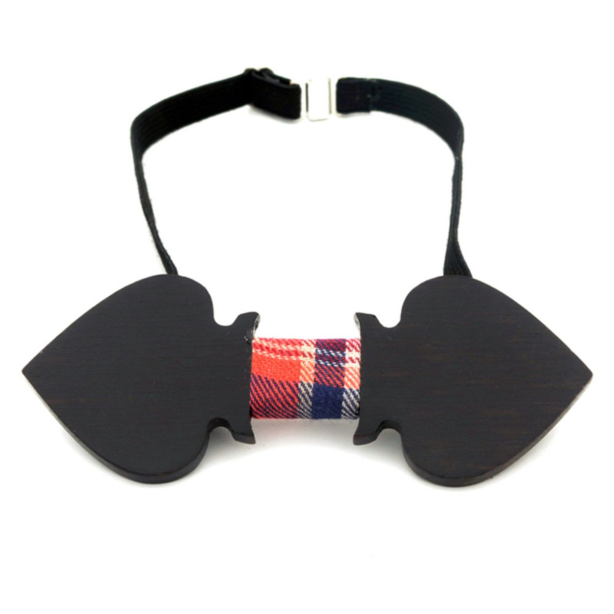 Men Women Retro Spade Shaped Handmade Wood Business Bowtie Tie Neck,Black