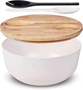 Large Salad Serving Bowl with Tongs,Nature White Bamboo Fiber Salad Bowl with Lid,Mixing Bowl with Servers set for Pasta,Fruits,Vegetables to Replace Wooden Bowls