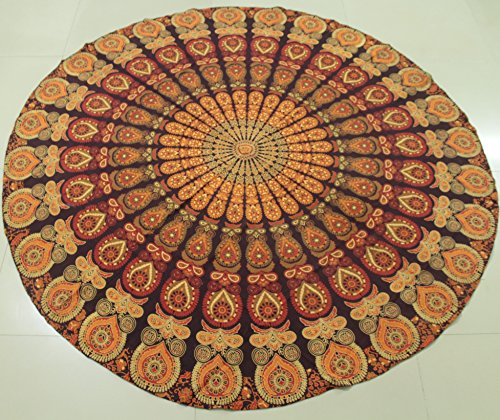 ian Gypsy Hippie Round Wall Tapestry Brown Hand Printed Table Cloth Ethnic Beach Throw 70