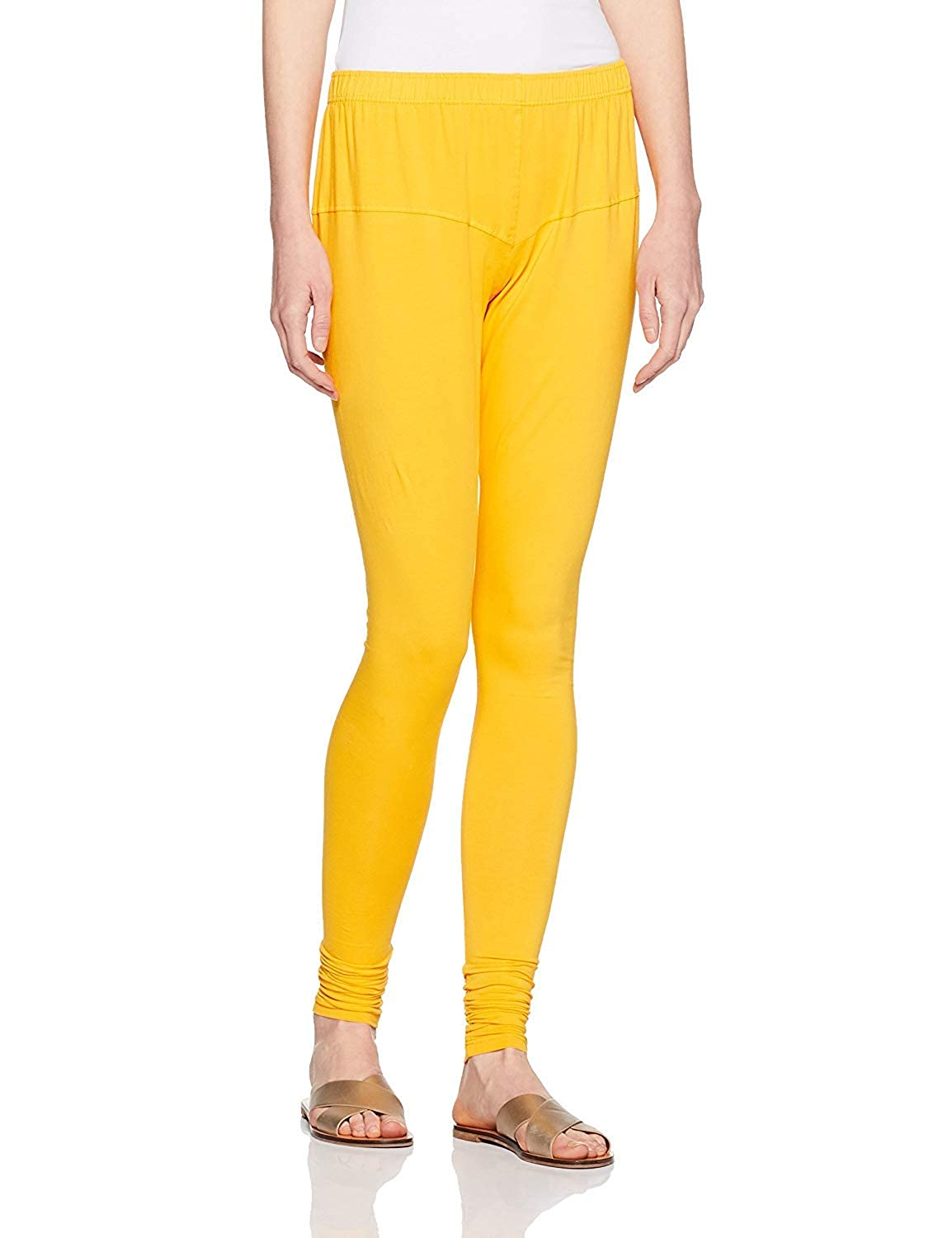 LYRA Women's Yellow Churidar Leggings
