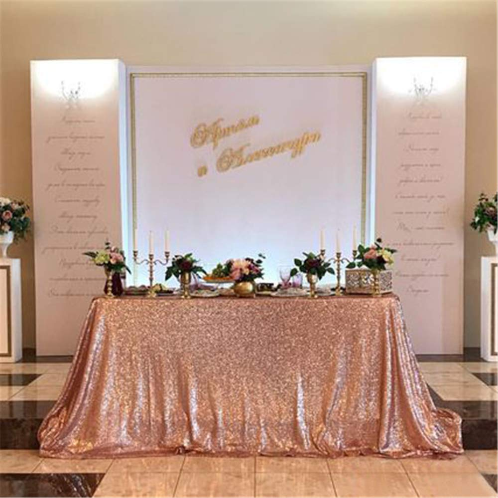 QueenDream 90''x132'' Sequin Rose Gold Sequin fabric tablecloth RECTANGULAR Sequin panels Party Baby Shower Reception tablecloth