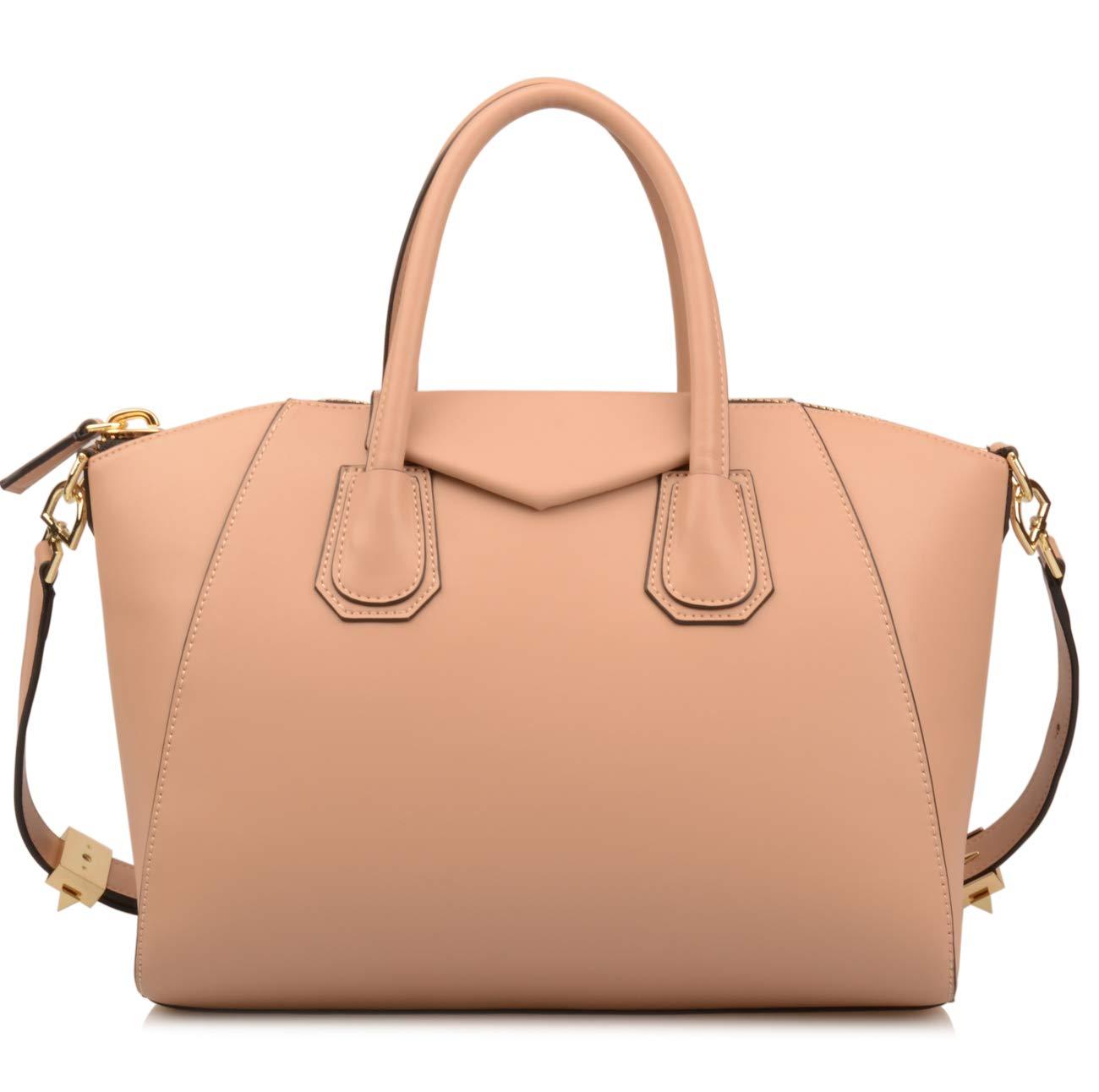 Ainifeel Women's Genuine Leather Everyday Purse Top Handle Handbags Shoulder Bags (Medium, Apricot)