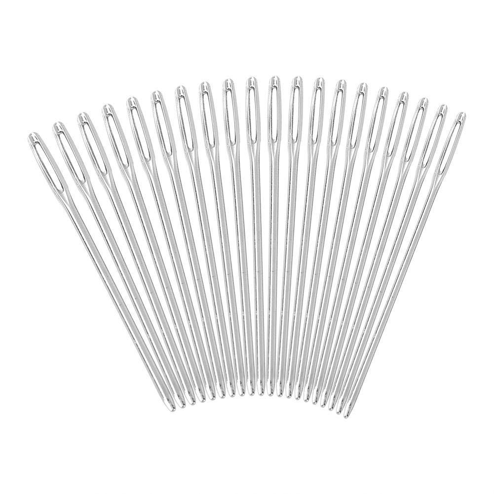 Paquete de 20 piezas de color plata agujas ojo de tejer grandes agujas de tejer agujas romas agujas para coser bordado sobre 52 mm de longitud Hilitand