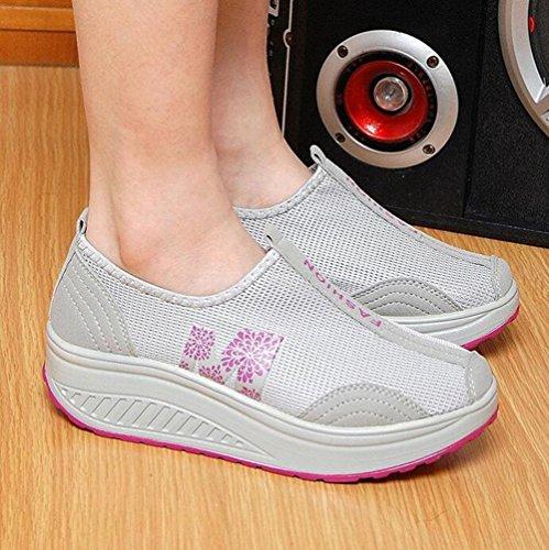 Zapatos de sacudir Casuales de Las Mujeres 2018 Verano Zapatos de Malla Transpirables temblorosos Zapatos de Plataforma de Suela Gruesa Zapatos Deportivos (Color : Gris, tamaño : 37)