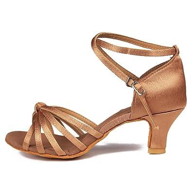 YFF Women's Latin Tango Shoes Ballroom 7 cm und 5 cm, 5 cm Heels Gold, 3.5