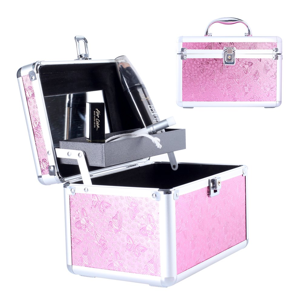 Makeup Train Case with Mirror, Mini Portable Aluminum Cosmetic Box Organizer Bag for Girl Women Travel FL-1010 Pink