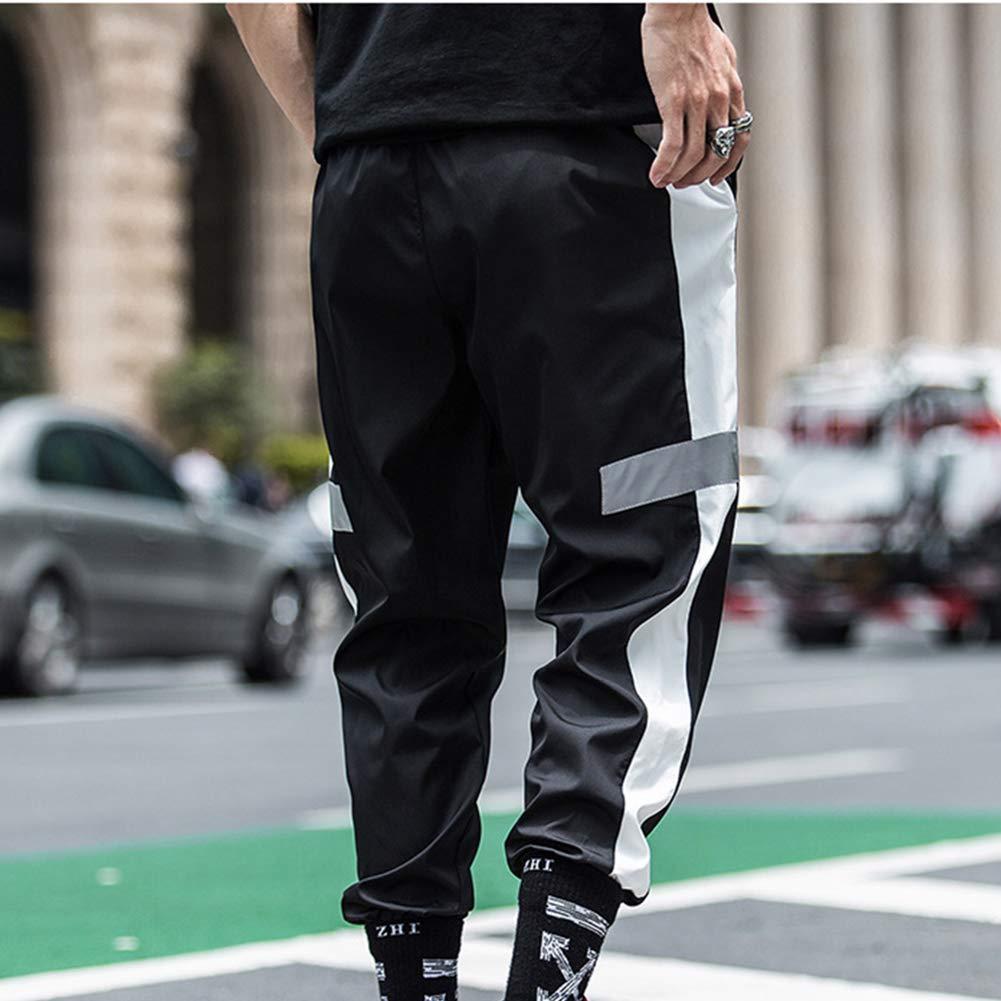 RUEWEY Men Drawstring Contrast Color Hip Pop Joggers Pants