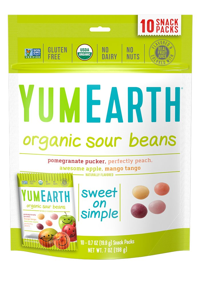 YumEarth Organic Sour Beans, 10 snack packs : Calorie Free Candy : Grocery & Gourmet Food