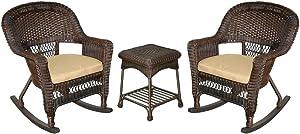 Jeco 3 Piece Rocker Wicker Chair Set With With Tan Cushion, Espresso