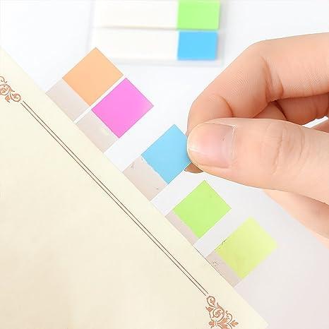 Juego de 6 marcadores de p/áginas de colores con pesta/ñas fluorescentes para marcador de p/áginas de trabajo y estudio
