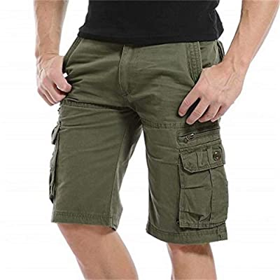 QYeah Mens Cargo Shorts Cotton Loose Fit Twill Summer Combat Shorts(No Belt): Clothing