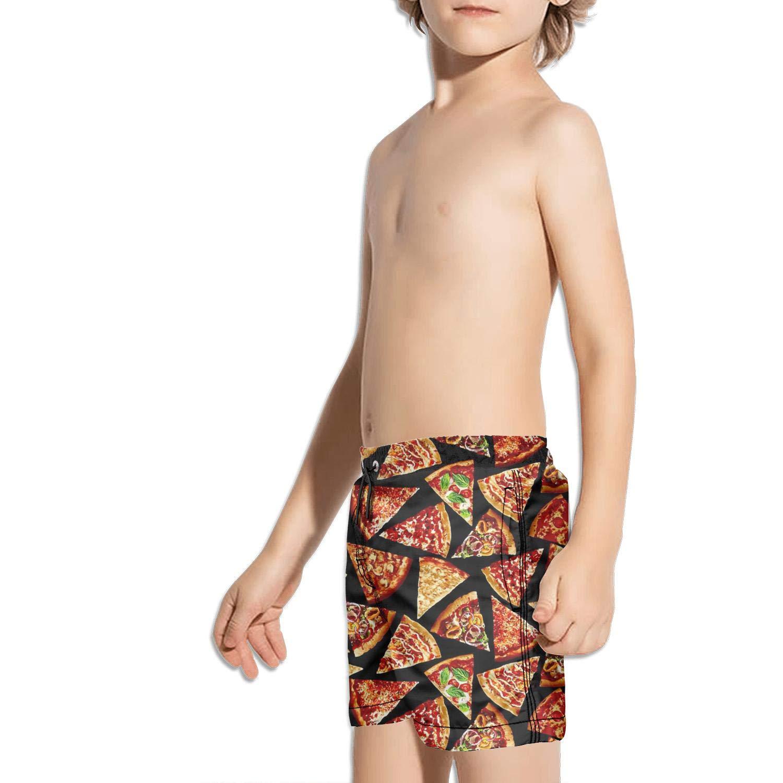 LKIMNJ Boys Board Shorts Poached Egg Pizza Quick Dry Bathing Suits Beach Board Shorts