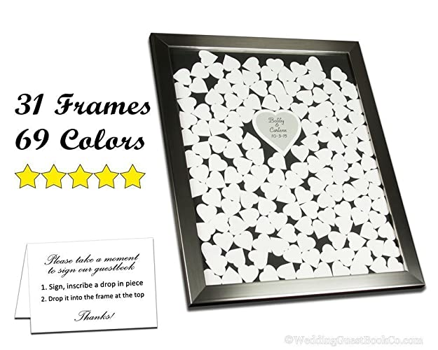 Amazon.com: Wedding Guest Book Frame with Wood or Color Signable ...