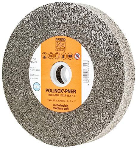 PFERD 48423 POLINOX PNER Non-Woven Abrasive Unitized Wheel, Aluminum Oxide, Medium-Soft, 6'' Diameter x 1'' Width, 5100 Maximum RPM