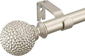 """Extendable Curtain Rods for Windows 28-48"""",1 Inch Diameter Pole with Hammertone Texture Finials ,Quality Metal Single Decorative Window Curtain Rod Set,Champagne Silver"""