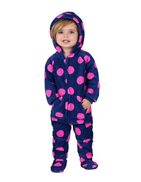 Amazon.com  Footed Pajamas - Navy Pink Polka Infant Hoodie Chenille ... dc4f67125