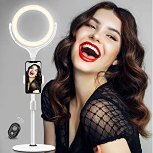 """Selfie Ring Light with Stand Tripod & Cell Phone Holder for Live Stream/Makeup- Evershop 8"""" Mini Led Camera Ringlight for YouTube/TikTok Video/Photography Compatible with iPhone Xs Max XR Android"""