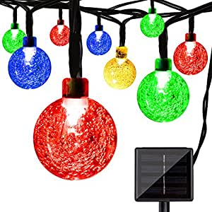 LightsEtc Solar String Lights 15.7FT 20 LED Multi Color Crystal Ball Light Indoor and Outdoor