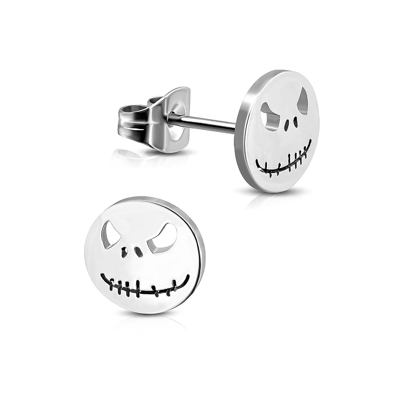 Pure316 Women's Jack Skellington Halloween Mask Circle Stud Earrings in 316L Stainless Steel - JK-ZEM285 Leviev Ltd.