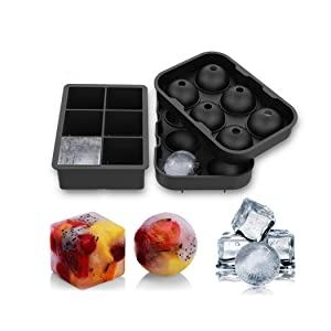 Ice Cube Tray 2 Pack Silicone Ice Cube Ice Ball Maker Easy Release Round and Square Ice Cube Molds for Whiskey Cocktails Beverages Reusable (2, Black)