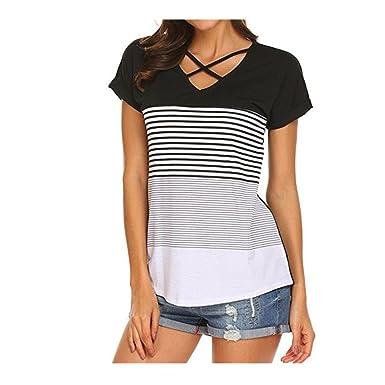 51b12f5e5a2bf Mr.Macy Women Ladies Stripe Splice T-Shirt