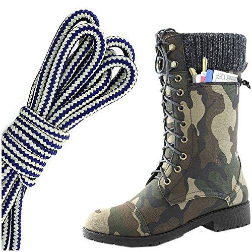 Dailyshoes Womens Style De Combat Lacets Bottine Bout Rond Militaire Knit Carte De Crédit Couteau Argent Poche Pochette De Poche, Bleu Marine Blanc Camouflage Cv