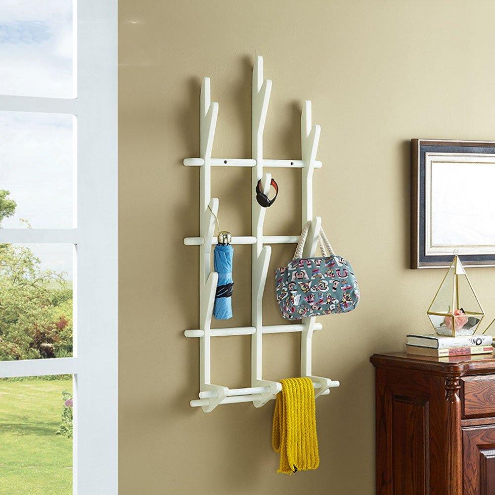LIANGJUN ウォールハンガー 木製 フック 木の小枝の形 リビングルーム、 使用可能な2色、 45.4X100cm ( 色 : 白 ) B07B2PFQN1 白 白