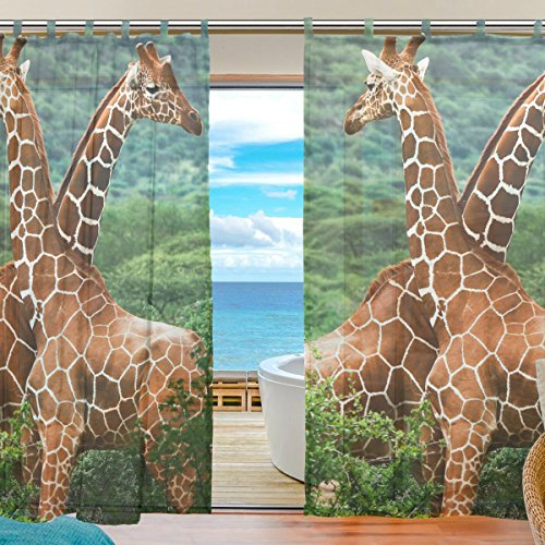 INGBAGS Bedroom Decor Living Room Decorations Giraffe Pattern Print Tulle Polyester Door Window Sheer Curtain Drape Two Panels Set 55×78 inch ,Set of 2 Review