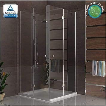 Eck-ducha sin marco de cristal de la ducha mampara de 100 x 90 x 195 ducha con cristal/cuarto de baño: Amazon.es: Bricolaje y herramientas