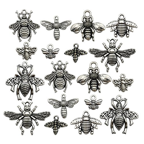 Honeybee Charm -80pcs Craft Supplies Antique Silver Bee Charms Pendants for Crafting, Jewelry Findings Making Accessory For DIY Necklace Bracelet Earrings m119 -