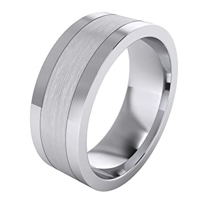 Heavy Solid Sterling Silver 8mm Flat Court Shape Brushed Center Polished Sides Mens Ring Wedding Band