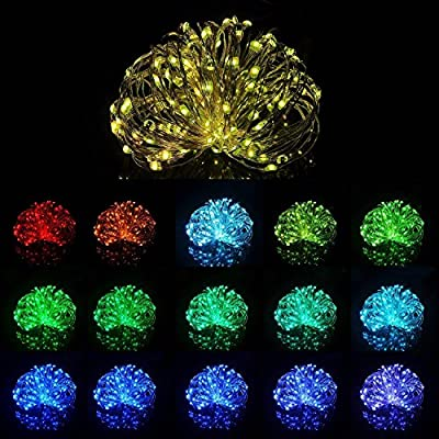 5M 50LED Battery Powered LED String Lights Multi 16 Color Waterproof Outdoor Decorative Lights with Remote Control for Party Wedding Christmas