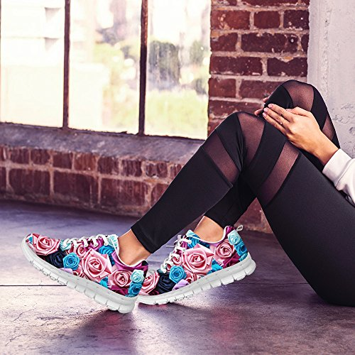 Sneaker Vintage U FOR Purple D Shoes Comfortable Women's Floral Walking DESIGNS Fashion Print Running Rose q8EOEd