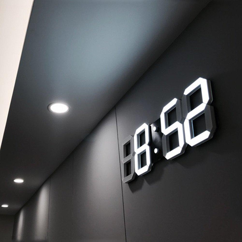 Modern Fashion Home Minimalist LED Digital Wall Clock - 3D Led Desk Clock / Alarm Clock (white)