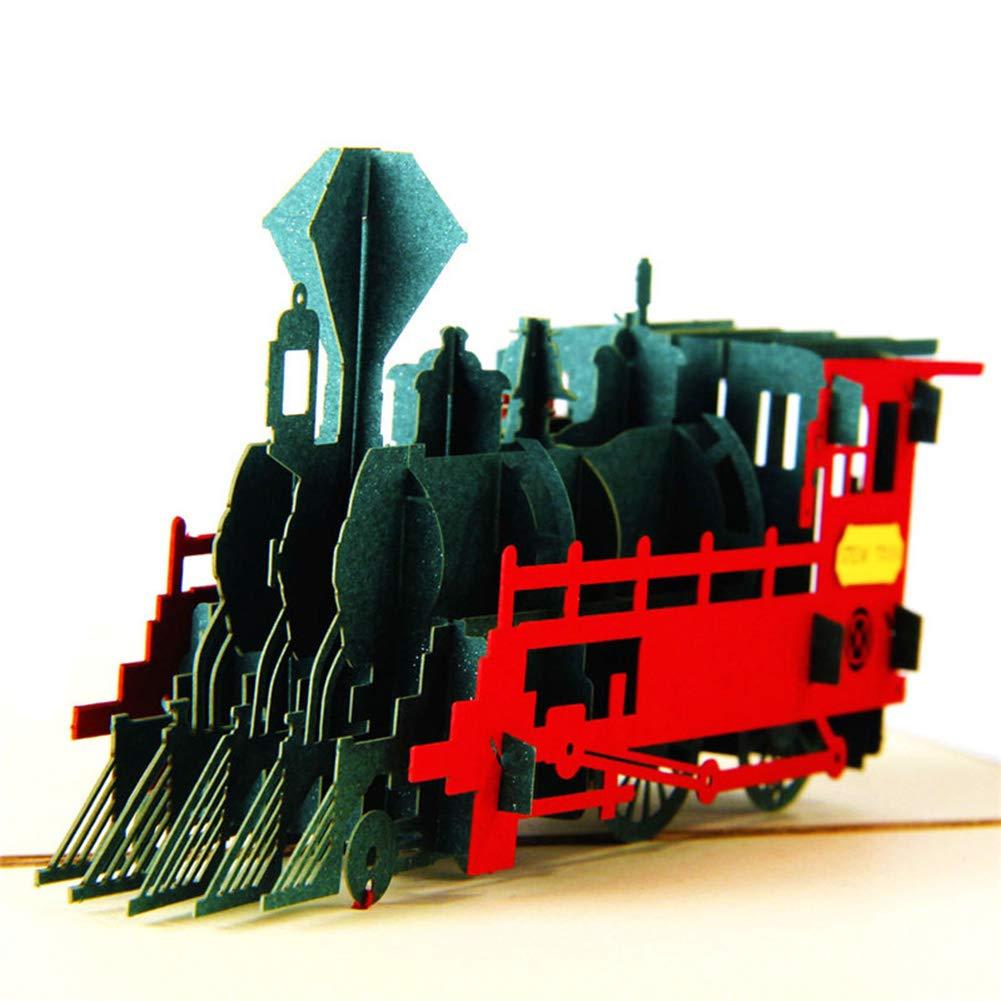 Amazon.com : HUNGER Handmade 3D Pop Up Train Birthday Cards Creative ...