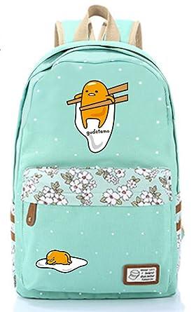 c577a0bf5a Gumstyle Gudetama Egg Calico Canvas Backpack Rucksack Schoolbag Shoulder Bag  for Boys and Girls Green 1