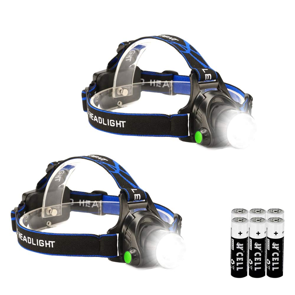 2 Pack LED Headlamp Flashlight Waterproof Headlamps Super Bright 3000 Lumens Tactical Headlight 3 Modes Zoomable Head Lamp for Camping Hiking Fishing