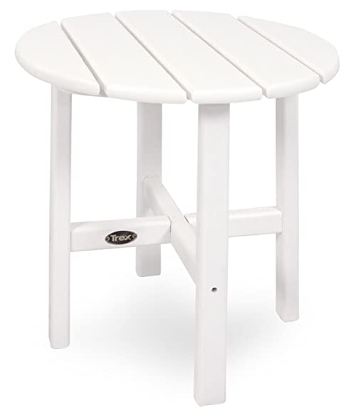 Trex Outdoor Furniture Cape Cod Round 18 Inch Side Table, Classic White
