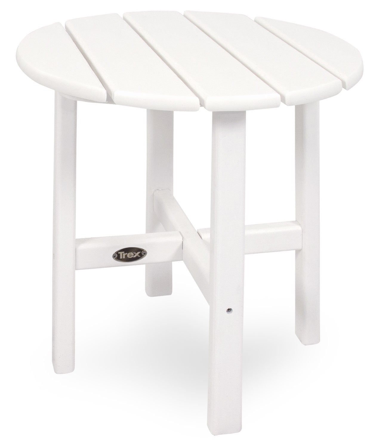 Trex Outdoor Furniture Cape Cod Round 18-Inch Side Table, Classic White
