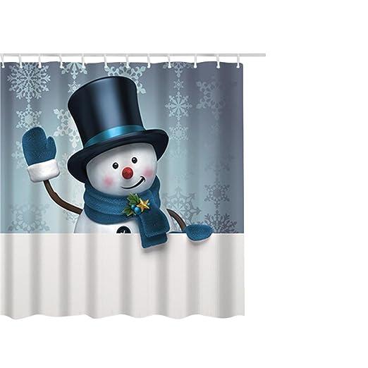 Amazon Hunzed Christmas Shower Curtain Waterproof With Hooks Decoration G Kitchen Dining